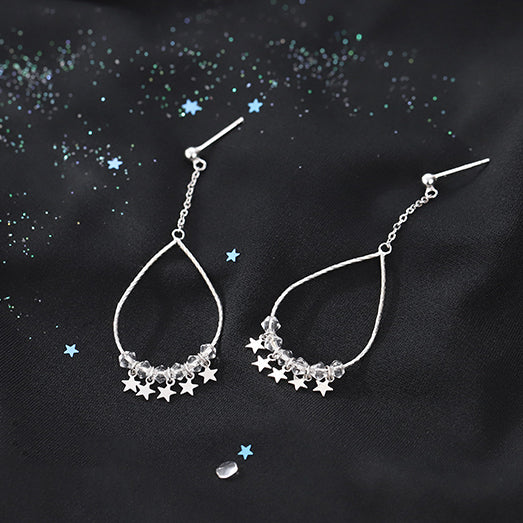 Sparkling Stars Sterling Silver Teardrop Hoop Earrings 6