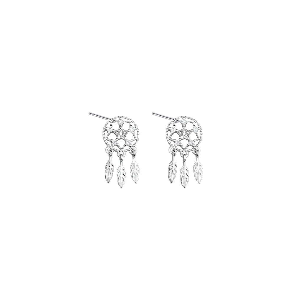 Dreamcatcher Feathers Sterling Silver Earrings 4