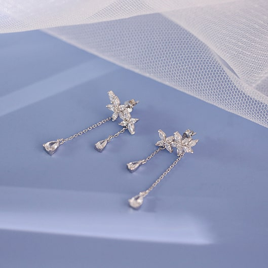 Sterling Silver Leaves Tassel Chain Fashion Flowers Drop Earrings 3