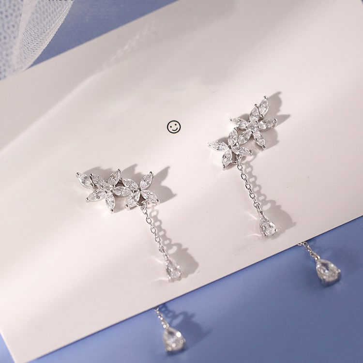Sterling Silver Leaves Tassel Chain Fashion Flowers Drop Earrings 4