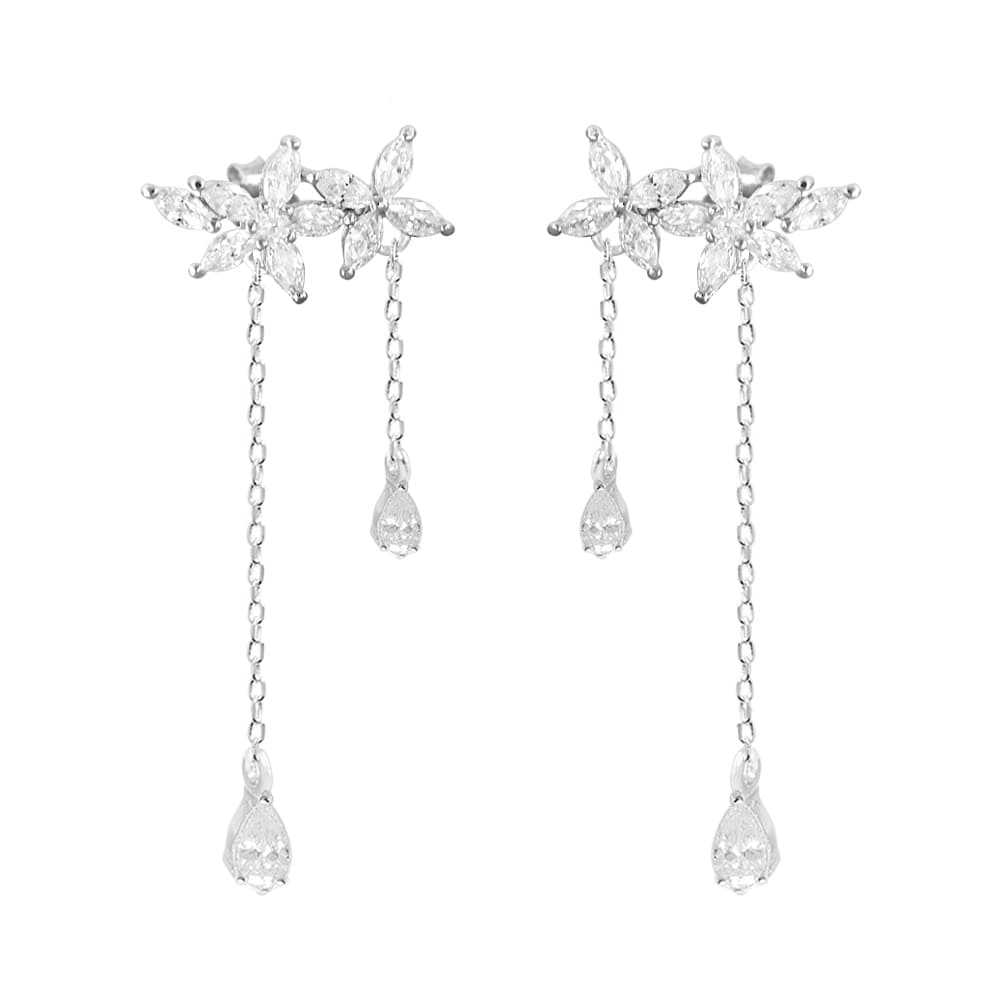Sterling Silver Leaves Tassel Chain Fashion Flowers Drop Earrings 7