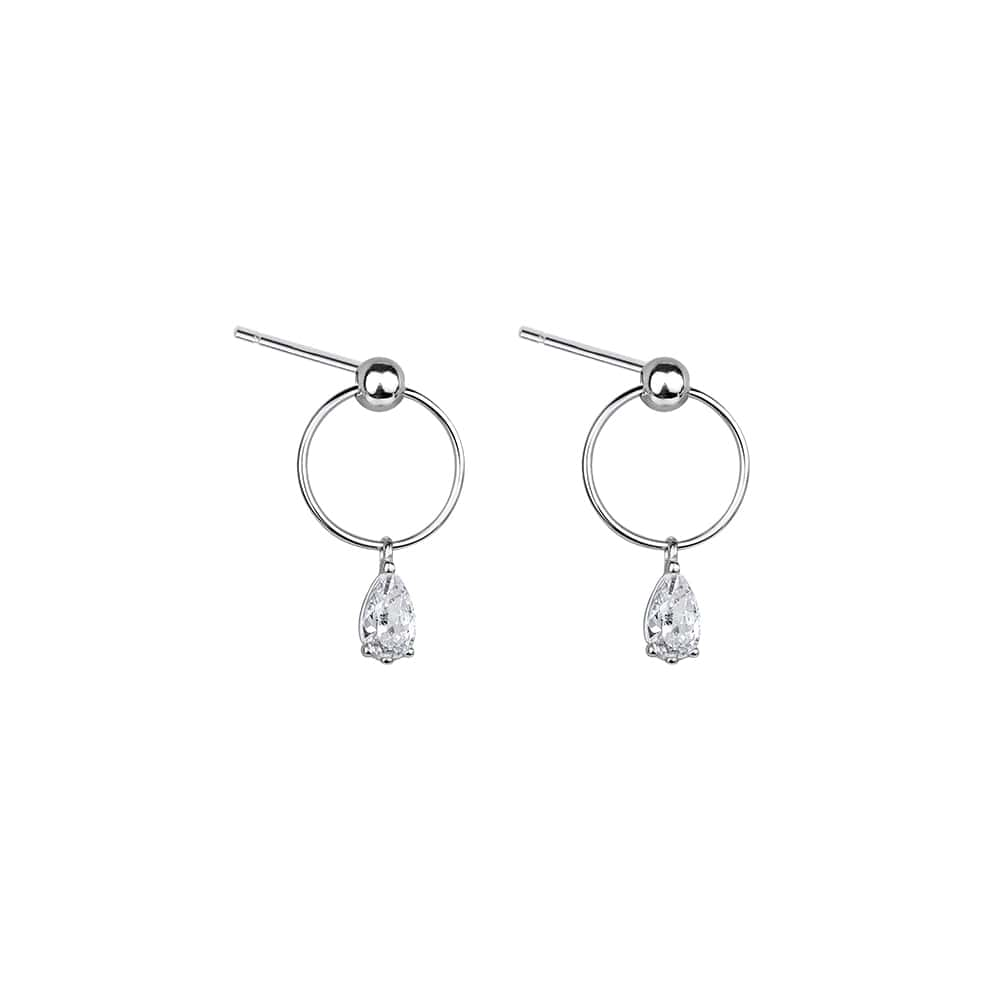 Glamorous Sterling Silver Cubic Zirconia Dangle Earrings