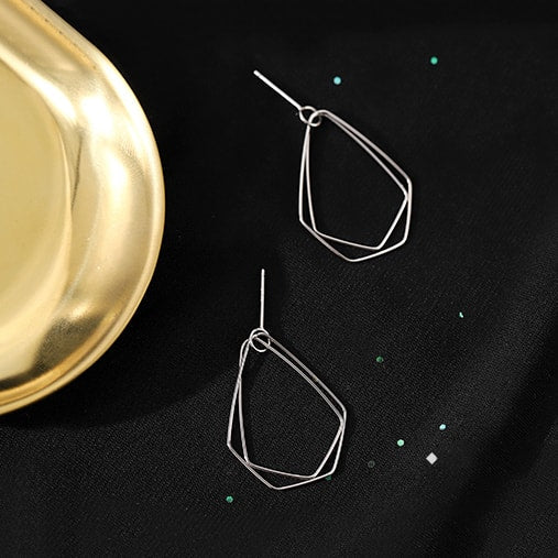 925 Sterling Silver Irregular Shape Geometric Stud Earrings 4