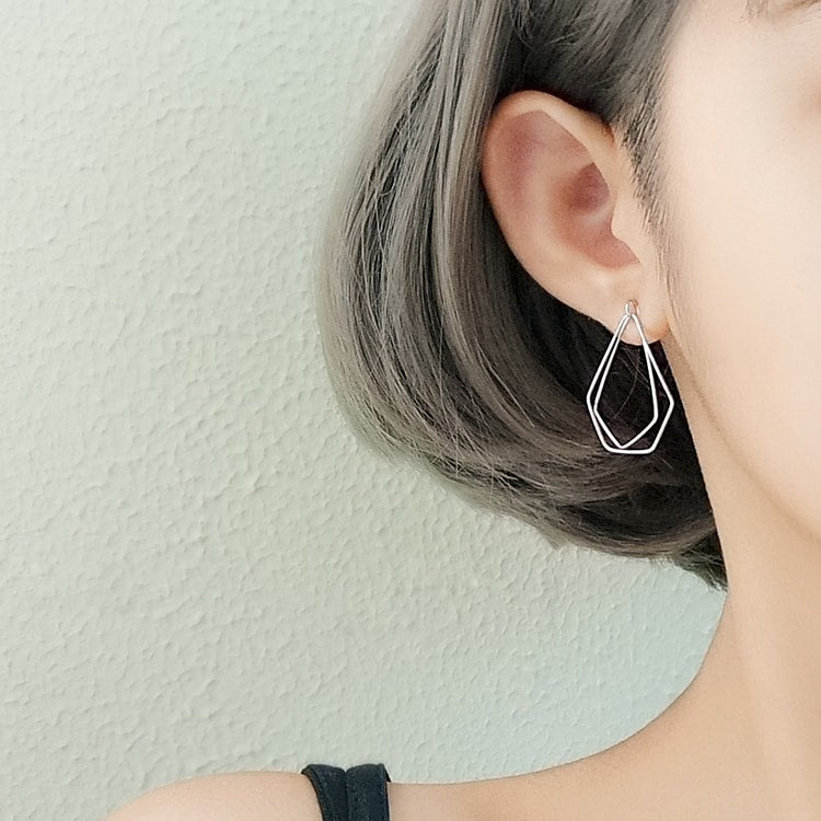 925 Sterling Silver Irregular Shape Geometric Stud Earrings 5