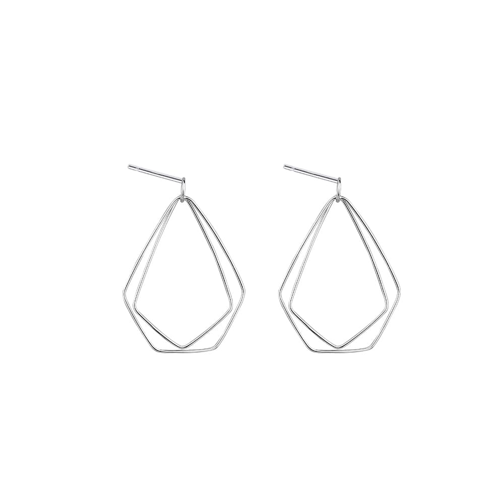 925 Sterling Silver Irregular Shape Geometric Stud Earrings 6