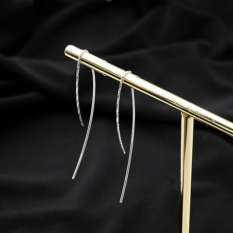 Sterling Silver Simple Long Linear Chain Tassel Threader Earrings
