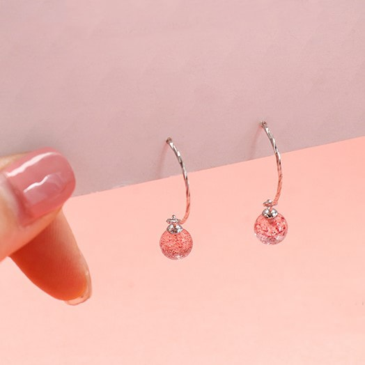Pink Strawberry Crystal Half Circle Earrings