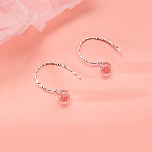 Pink Strawberry Crystal Half Circle Earrings 3