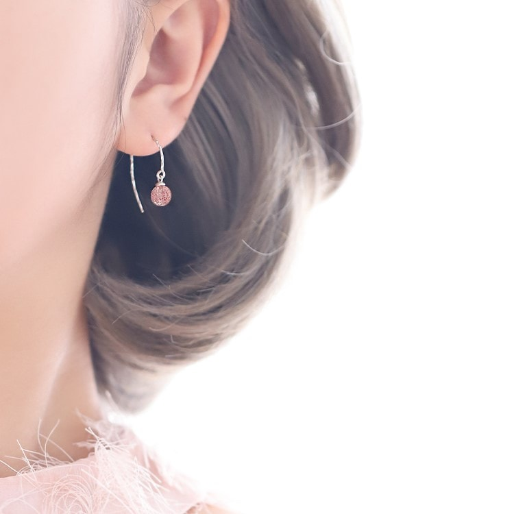 Pink Strawberry Crystal Half Circle Earrings 2