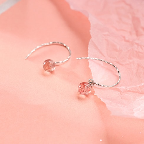 Pink Strawberry Crystal Half Circle Earrings 4