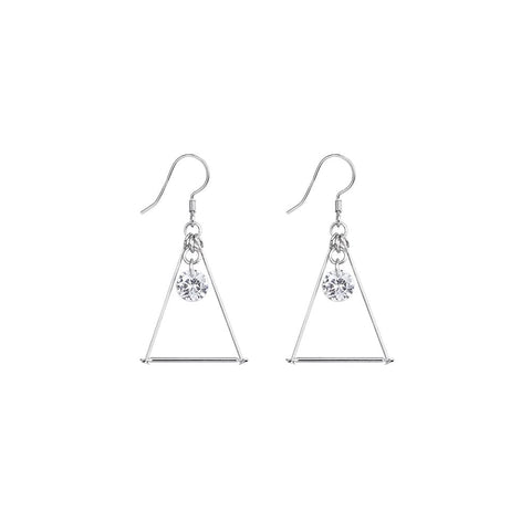 Sterling Silver Cubic Zirconia Triangle Earring Dangling