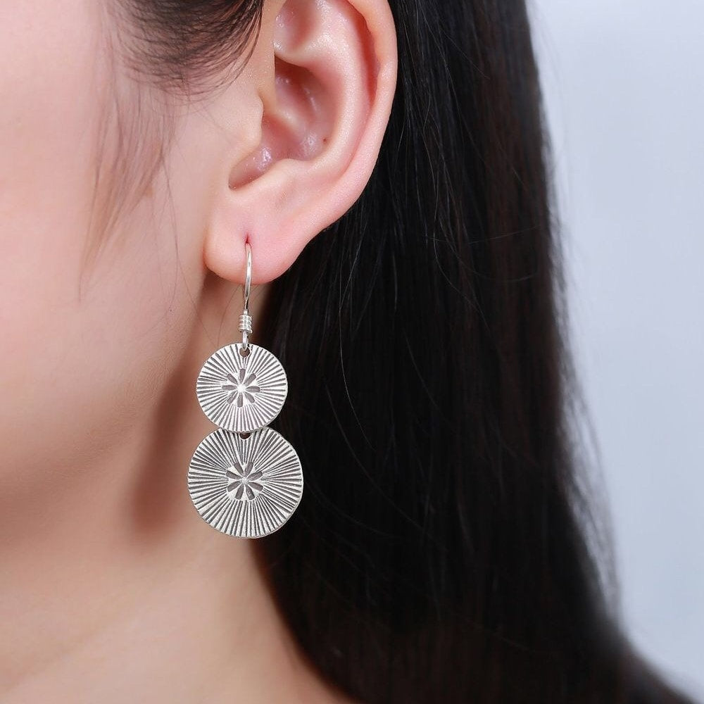 Sterling Silver Sunflower Dangling Earrings