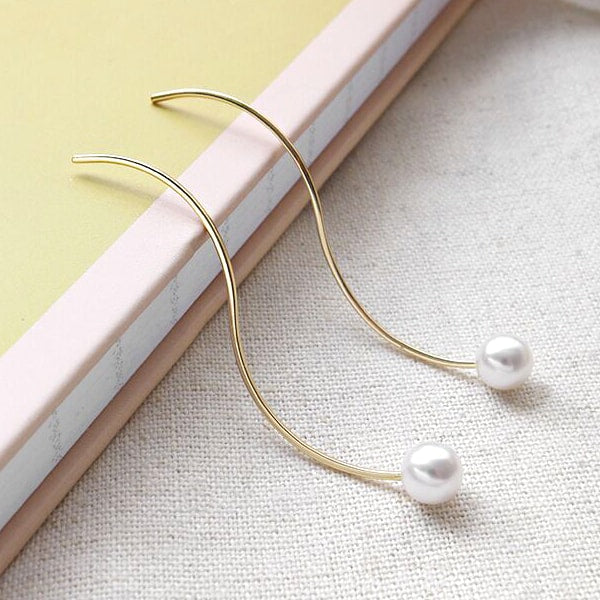 Gold Plated Sterling Silver Shell Pearl Threader Earrings 3