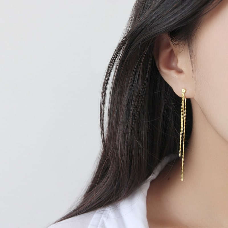 Sterling Silver Gold Plated Fashion Long Tassel Earrings 3