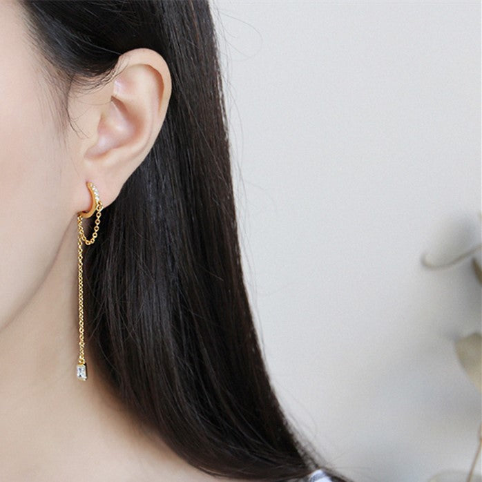 Cz Tassel Threader Dangle Small Hoop Earrings