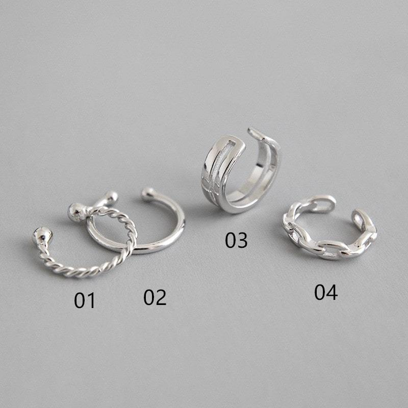 Sterling Silver Non Piercing Cartilage Clips Earrings Hoop 2