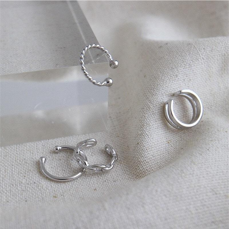 Sterling Silver Non Piercing Cartilage Clips Earrings Hoop 4