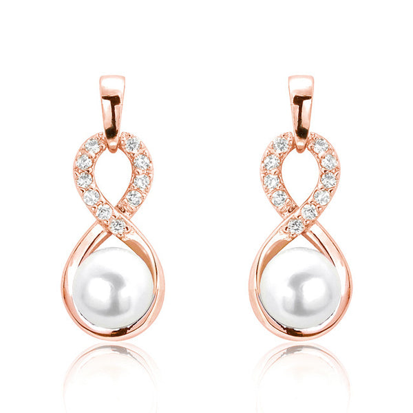 Fancy Infinite Pearl CZ Rose Gold Plated 925 Sterling Silver Earrings - Jewelry - Prjewel.com - 1