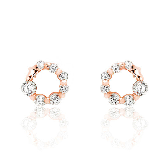 Rose Gold over 925 Sterling Silver Cubic Zirconia Glamorous Earrings