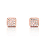 Sparkling Square 925 Sterling Silver Cubic Zirconia Earrings Rose - Jewelry - Prjewel.com - 1