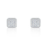 Sparkling Square 925 Sterling Silver Cubic Zirconia Earrings - Jewelry - Prjewel.com - 1