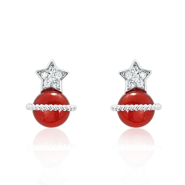 CZ Red Agate 925 Sterling Silver Grand Earrings