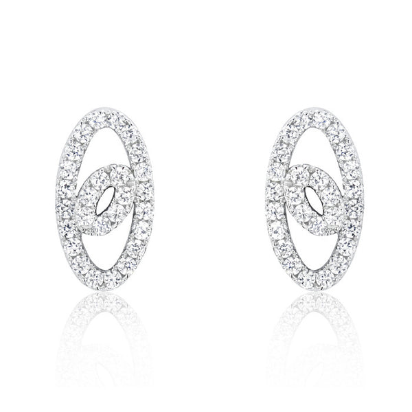Elegant Oval 925 Sterling Silver Cubic Zirconia Earrings