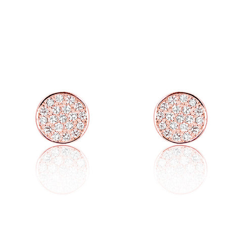 Rose Gold Plated Silver Cubic Zirconia Modern Circle Earrings - Jewelry - Prjewel.com - 1
