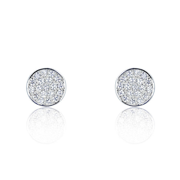 Sterling Silver Cubic Zirconia Modern Circle Earrings