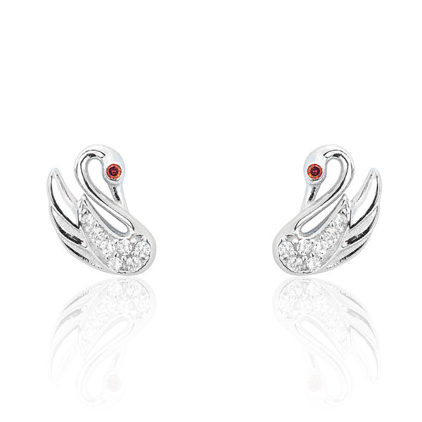 Lovable Swan 925 Sterling Silver CZ Earrings