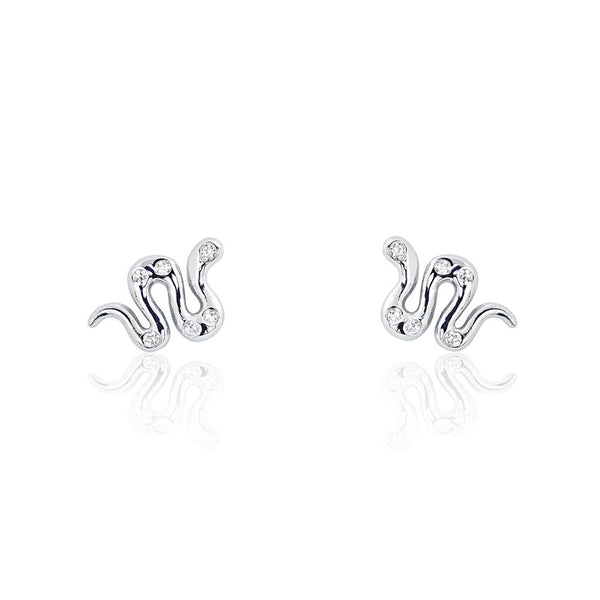 Adorable Snake Cubic Zirconia 925 Sterling Silver Earrings