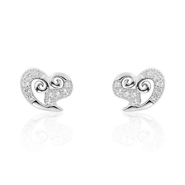 Beautiful Heart 925 Sterling Silver Cubic Zirconia Earrings
