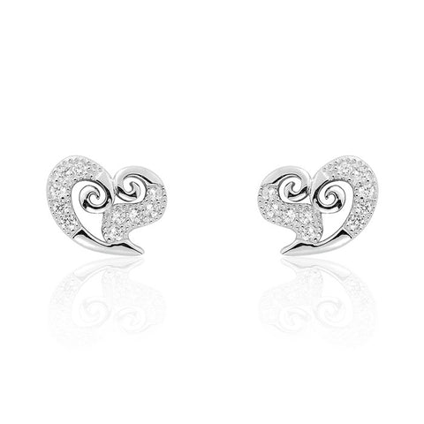 Beautiful Heart 925 Sterling Silver Cubic Zirconia Earrings - Jewelry - Prjewel.com - 1