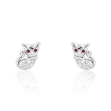 Lovely Cat 925 Sterling Silver Red Crystal Earrings - Jewelry - Prjewel.com - 1