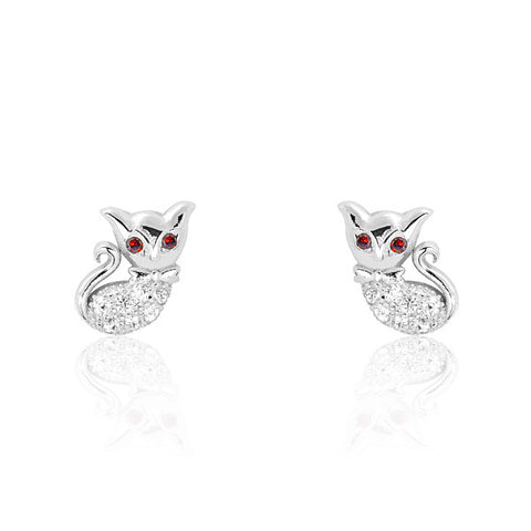 Lovely Cat 925 Sterling Silver Red Crystal Earrings