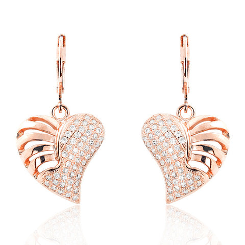 Wonderful Heart 925 Sterling Silver Micro Pave Setting CZ Earrings Rose - Jewelry - Prjewel.com - 1