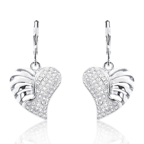 Wonderful Heart 925 Sterling Silver Micro Pave Setting CZ Earrings - Jewelry - Prjewel.com - 1