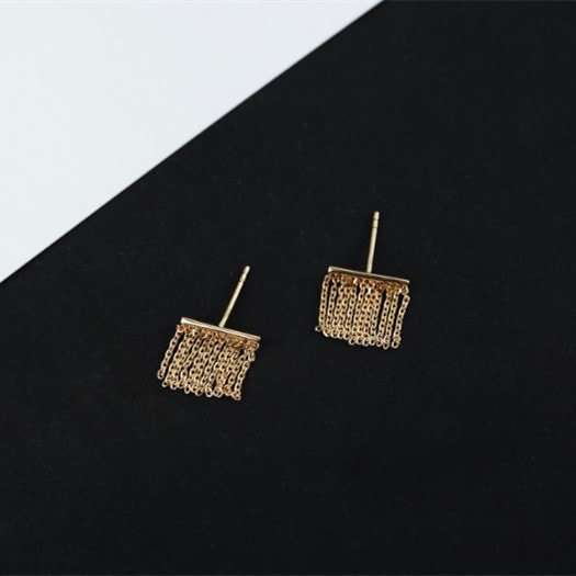 9K Gold Fringed Tassels Character Earrings Fashion Jewelry 2
