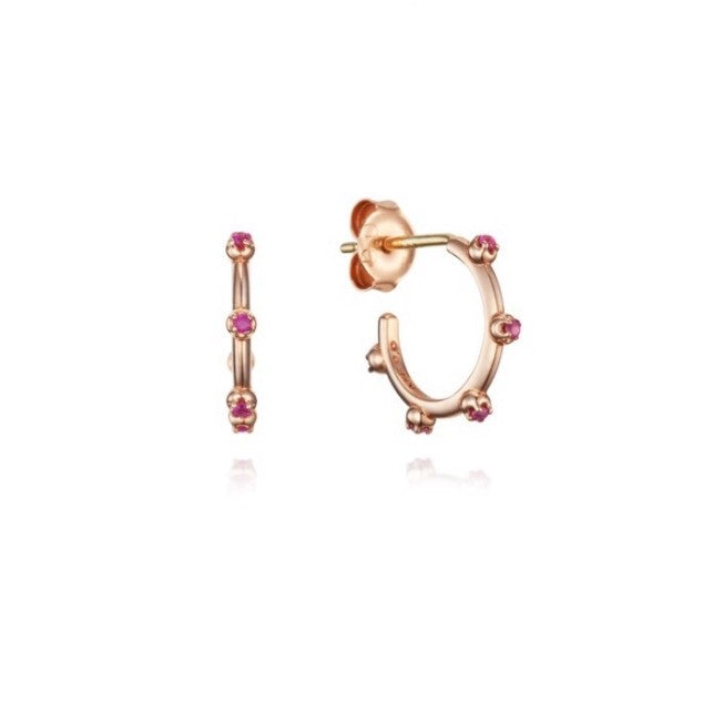 Sparkly 14K Rose Gold Natural Red Ruby Women's Hoop Earrings