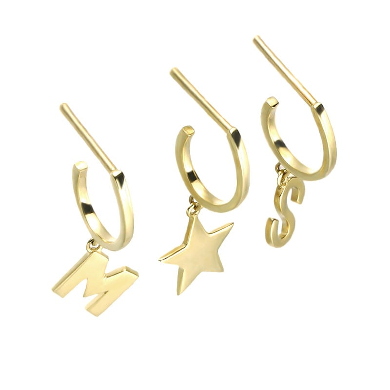 Solid 9K Gold Alphabet and Star Hoop Earrings for Women Girls