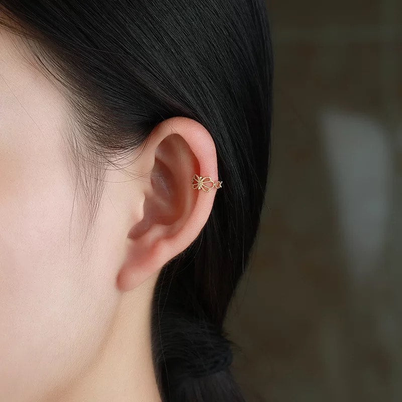 9K Solid Gold unique Ear Cuff Cartilage Earrings 2