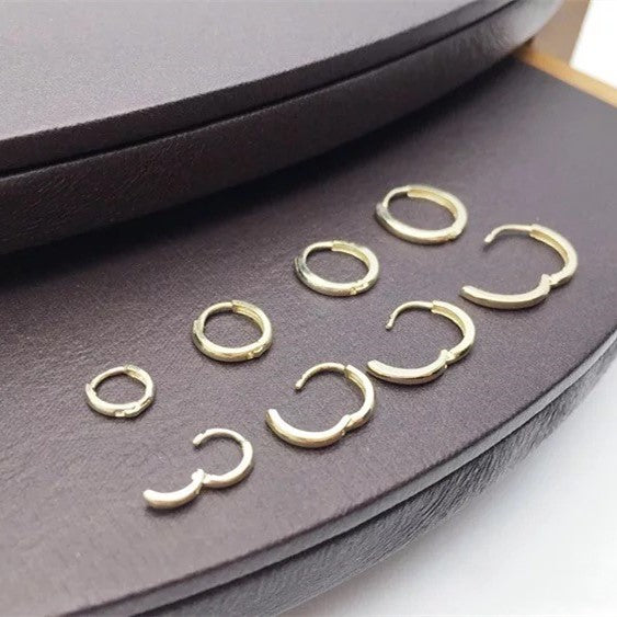 Solid 10K Yellow Gold Endless Hoop Earring 4.5mm-9.5mm