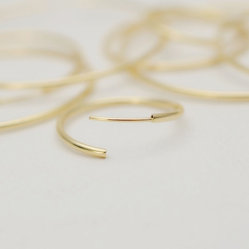 Solid 10K Yellow Gold Basic Big Hoop Earrings 3