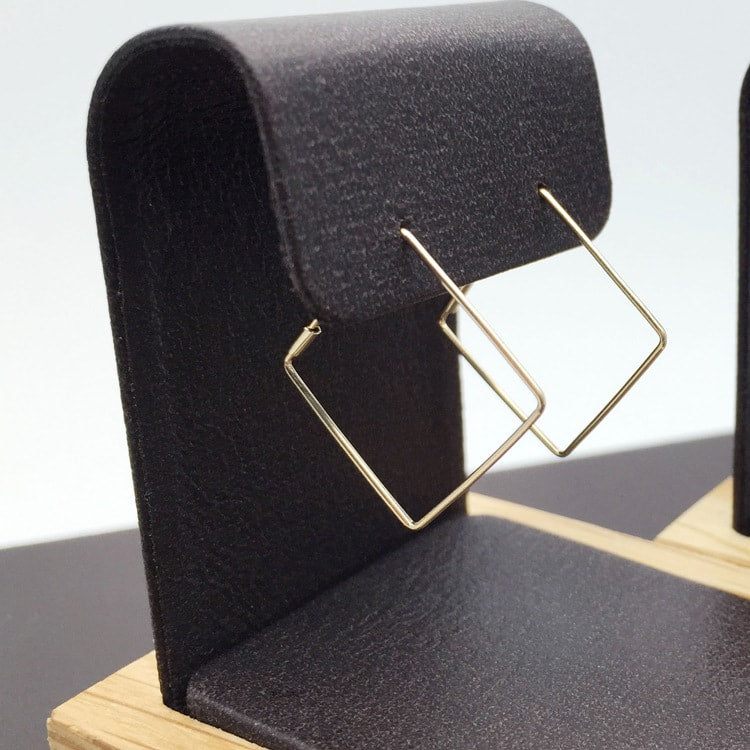 Solid 10K Gold Simple Plain Geometric Hoop Earrings 2