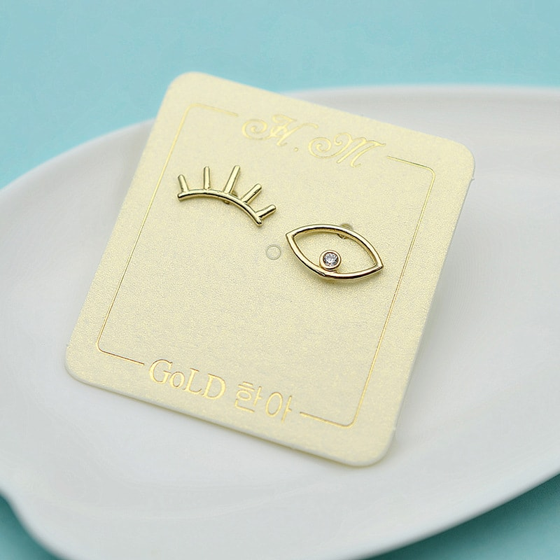 Solid 10K Gold Eye Earrings 2