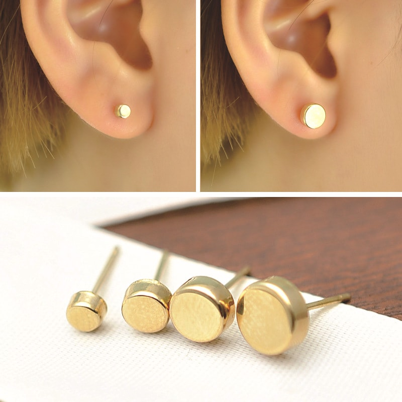 Solid 10K Gold Minimalist Dot Small Stud Earrings 3