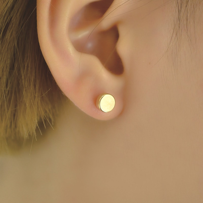 Solid 10K Gold Minimalist Dot Small Stud Earrings 2