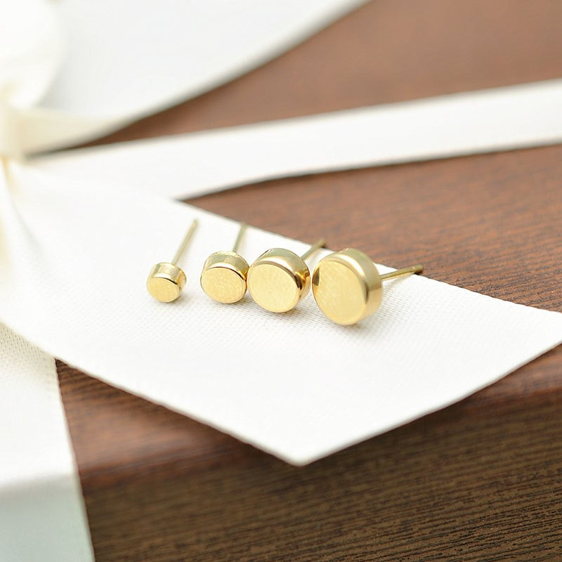 Solid 10K Gold Minimalist Dot Small Stud Earrings