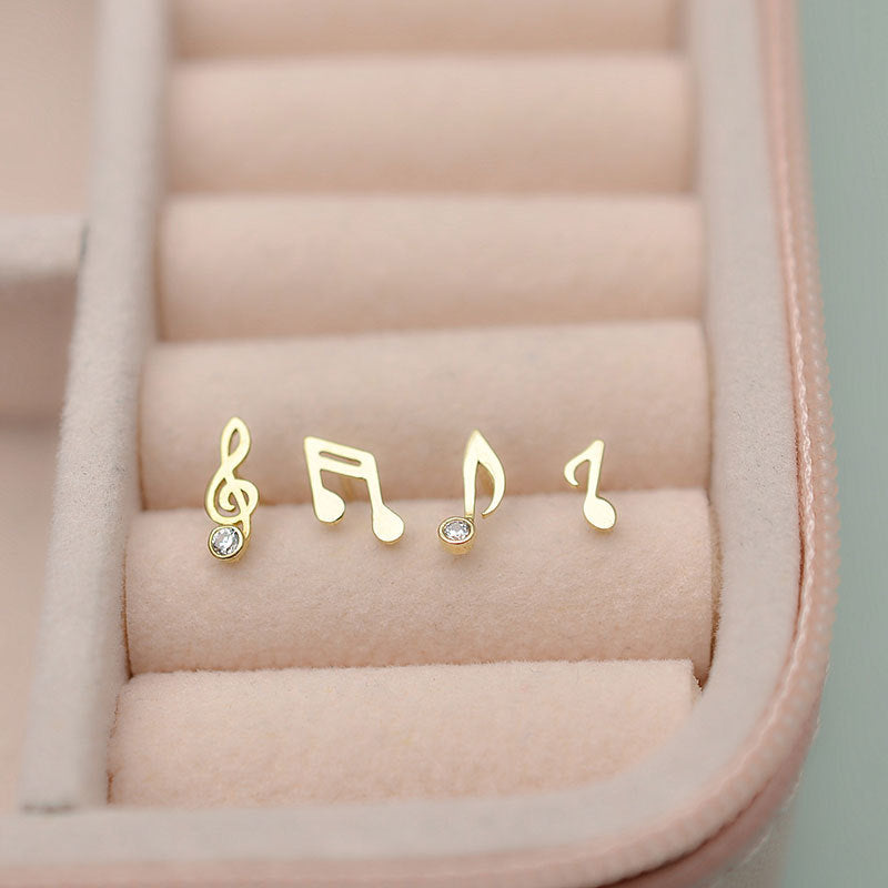 Solid 10K Gold Music Note Stud Earrings