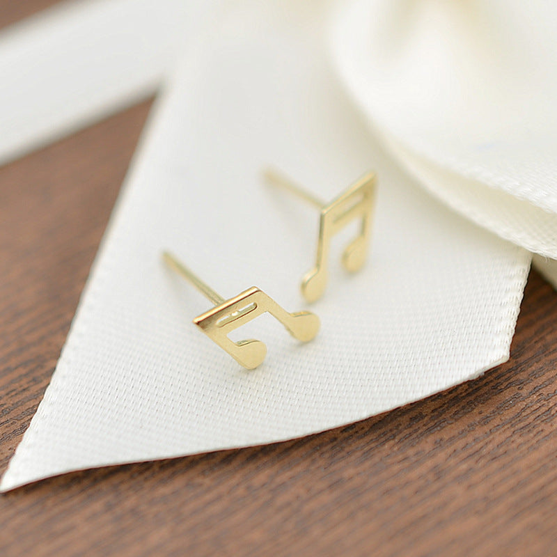 Solid 10K Gold Music Note Stud Earrings 4